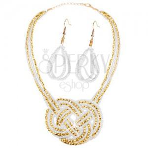 Sada - náušnice a náhrdelník, korálky - zlatá a biela farba, pletený ornament