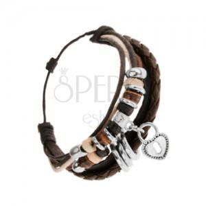 Nastaviteľný náramok z kože a šnúrok, drevené a oceľové ozdoby, srdiečko