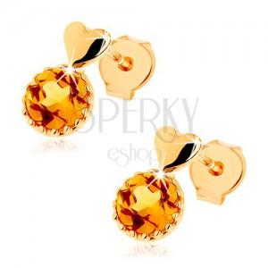 Puzetové náušnice zo žltého 14K zlata - malé vypuklé srdce, okrúhly žltý citrín