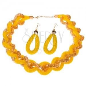 Sada náhrdelníka a náušníc, masívna pletená reťaz, žltá sieťka - korálky