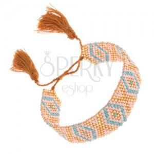 Ligotavý korálkový náramok, tyrkysovo-bielo-zlatá farba, indiánsky vzor