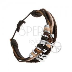 Multináramok z čierneho koženého pásu a šnúrok, drevené a oceľové ozdoby