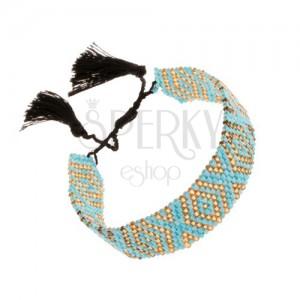 Nastaviteľný náramok, ligotavé korálky, tyrkysovo-zlatá farba, čierne šnúrky