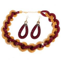Šperky eshop - Sada - náhrdelník, náušnice, zapletená reťaz, sieťka, ružové korálky X41.20