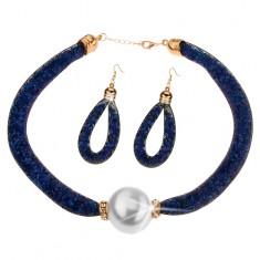 Sada - náhrdelník, náušnice, sieťka a tmavomodré ligotavé kryštáliky, gulička