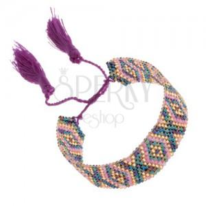 Nastaviteľný náramok, korálky, dúhový lesk, ružová farba, vzor - kosoštvorce