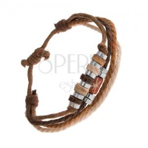 Náramok zo šnúrok hnedej a béžovej farby, drevené a oceľové korálky