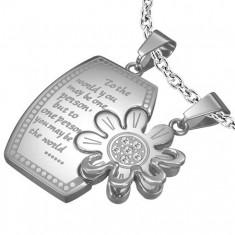 Šperky eshop - Prívesky pre dvojicu, chirurgická oceľ, obdĺžnik s nápisom a margarétka U24.14