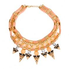 Šperky eshop - Náhrdelník, pletené šnúrky, stužka, trojuholníky s ornamentmi, zirkóny X47.5