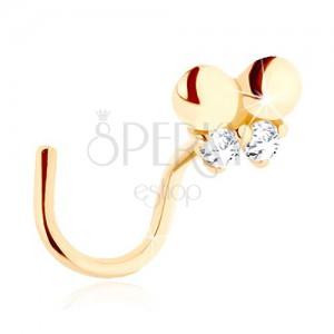 Zlatý piercing do nosa 585 - zahnutý, drobný motýlik zdobený čírymi zirkónmi