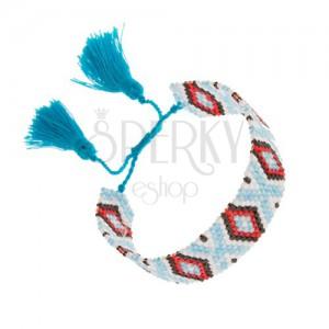 Korálkový náramok, indiánsky vzor, svetlomodrá, biela, čierna, červená farba