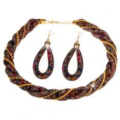 Set, náušnice a náhrdelník, čierna zatočená sieťka, farebné kryštáliky, retiazky