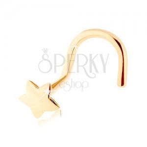 Zahnutý piercing do nosa zo žltého 14K zlata - hladká päťcípa hviezdička