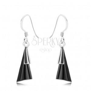 Náušnice - striebro 925, afroháčiky, vypuklé trojuholníky, čierny kameň
