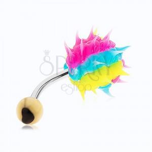 Piercing do pupku z chirurgickej ocele, farebný silikónový ježko