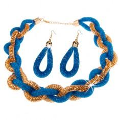 Set - náhrdelník a náušnice, hrubá pletená reťaz, modrá sieťka s korálkami