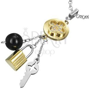 Viacfarebný prívesok z ocele - Tabono s kľúčikom a kladkou