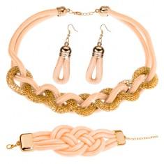 Sada náhrdelníka, náramku a náušníc, pletené šnúrky, krémovožltá farba