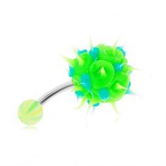 Šperky eshop - Oceľový piercing do brucha, zeleno-modrý silikónový ježko PC12.16