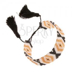 Nastaviteľný náramok, korálky, zlatá, biela a čierna farba, vzor - kosoštvorce
