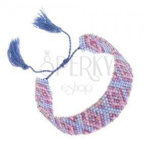 Náramok s indiánskym motívom, ligotavé korálky, modrá a fialová farba