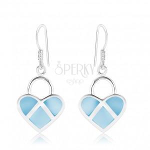 Strieborné 925 náušnice, symetrické srdce, modrá perleť, strieborné línie