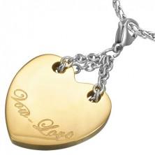 Dvojfarebný oceľový prívesok - srdce s nápisom Vow Love