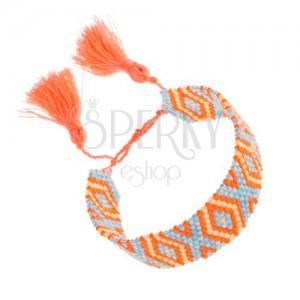 Korálkový náramok, oranžová, modrá, žltá farba, vzor Indiánov, kosoštvorce