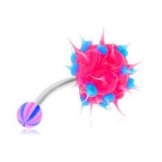 Piercing do brucha z ocele 316L, neónovo ružový silikónový ježko, modré bodky
