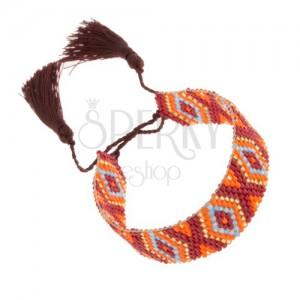 Korálkový náramok - bordová, zlatá, oranžová, modrá farba, vzor Indiánov