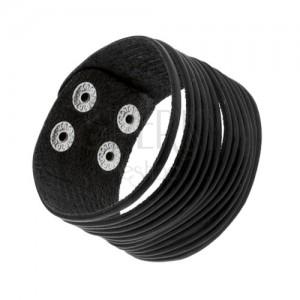 Čierny kožený náramok, tenké rozdelené pásiky, lesklé nity striebornej farby