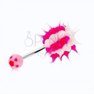 Piercing do bruška z chirurgickej ocele, silikónový ježko, biele a ružové pásy