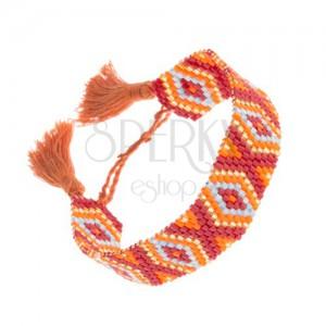 Korálkový náramok - bordový, zlatý, oranžový a modrý odtieň, kosoštvorce
