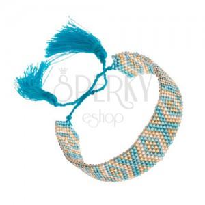 Náramok s indiánskym motívom, korálky, tyrkysová, zlatá, strieborná farba