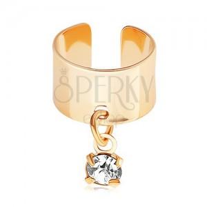 Oceľový fake piercing do ucha, zlatá farba, visiaci číry zirkónik