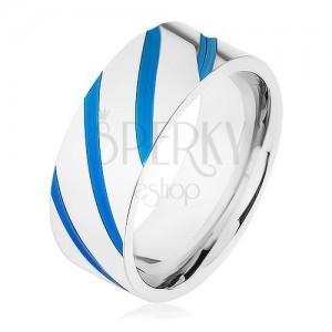 Oceľová obrúčka striebornej farby, diagonálne pásy, modrá glazúra