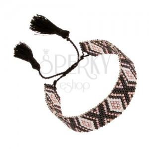 Náramok s indiánskym motívom, biele, čierne, svetloružové korálky