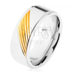 Dvojfarebný prsteň z chirurgickej ocele, šikmé gravírované pásiky