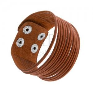 Karamelovo hnedý kožený náramok, oddelené pásiky, lesklé oceľové nity