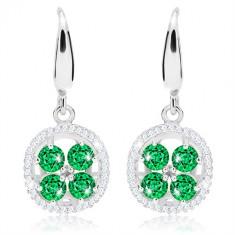 a17020543 Šperky eshop - Strieborné náušnice 925, zvlnená trblietavá obruba, zelené  zirkóny SP93.09