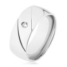 Prsteň z ocele 316L, strieborná farba, dva diagonálne zárezy, číry zirkónik