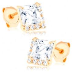 Šperky eshop - Náušnice zo žltého 14K zlata - číry štvorcový zirkón, drobné zirkóniky GG86.06