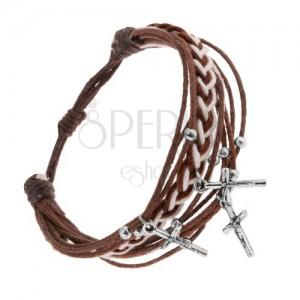 Šnúrkový náramok, škoricovohnedý odtieň, guličky a krížiky z ocele