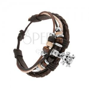 Pletený náramok, kožený pásik, viacfarebné šnúrky, ozdoby, lebka