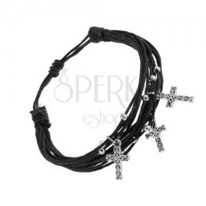 Nastaviteľný náramok, zväzok čiernych šnúrok, oceľové guličky a krížiky