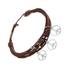 Šperky eshop - Náramok zo šnúrok, hnedá farba, strieborné guličky a prívesky - znak mieru SP91.27