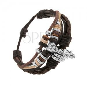 Multináramok - kožené pásiky a šnúrky, oceľové a drevené korálky, ruka Fatimy