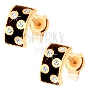 Náušnice v žltom 14K zlate - širší polkruh s glazúrou čiernej farby, číre zirkóny