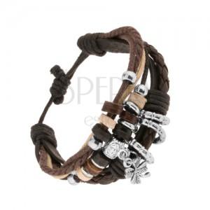 Multináramok z kožených pásov a šnúrok, ozdoby z dreva a ocele, štvorlístok
