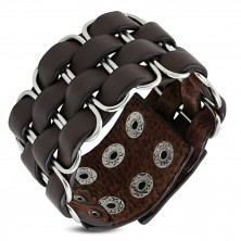Hnedý kožený náramok - podlhovasté očká prepletané štyrmi pásmi